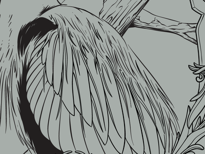 Starting to come together illustration screenprint gigposter frame wip bird