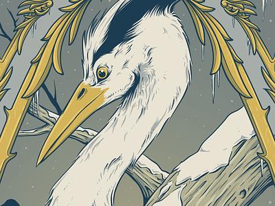 almost finished illustration screenprint gigposter frame wip heron