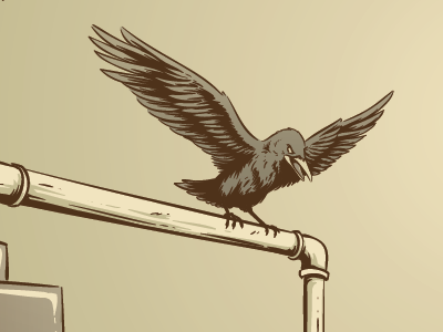 getting close to wrapping this one up. illustration screenprint gigposter wip crow