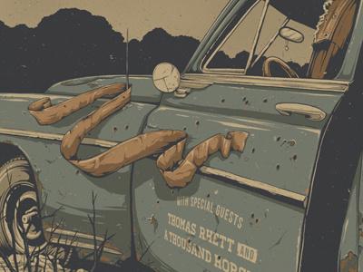 Gig Poster for Jason Aldean  jason aldean scarf rust car illustration gigposter poster