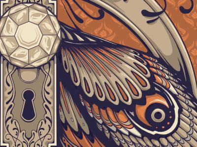 moth-door knob thing gig poster door knob key hole hazardpress print ornate moth wing illustration poster design