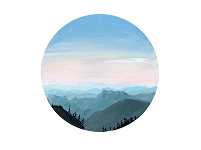 Morning illustration painting gouache circle mountains trees landscape outside nature