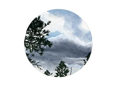 Pine Gouache illustration gouache clouds pine trees sky nature camp