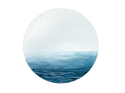 Pale Ocean illustration painting gouache ocean sea water mist nature landscape design circle