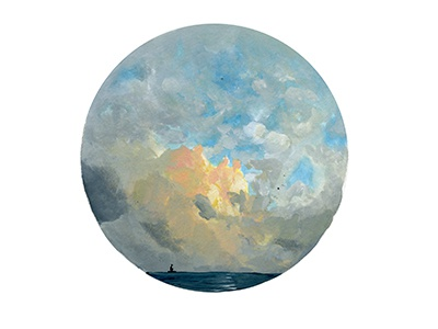 Ocean Boat illustration painting gouache sky clouds landscape ocean sea boat nature