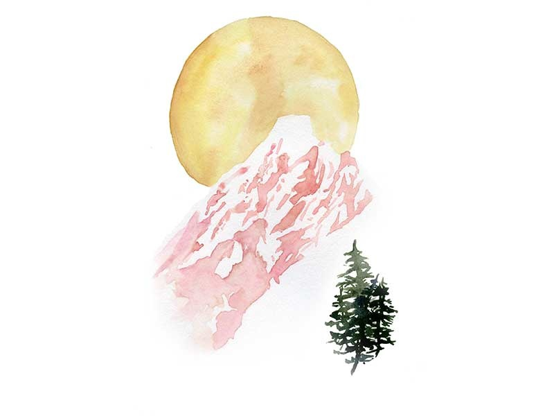 Pink Mountain travel outdoors pine forest green yellow pink watercolor landscape tree sun mountain