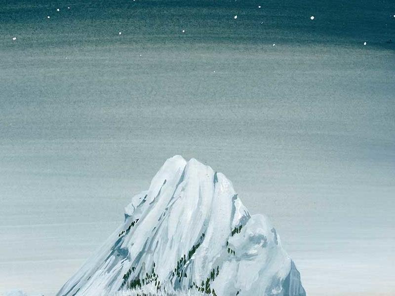 Starry Mountain gouache nature outdoors adventure travel snow alpine mountain stars