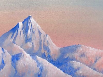 Olympus travel adventure outdoor pastels blue pink painting gouache utah mountain olympus