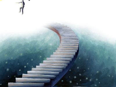 Wander: Shoal Creek Stairs fireflies stars dream stairs city texas austin childrens illustration gouache