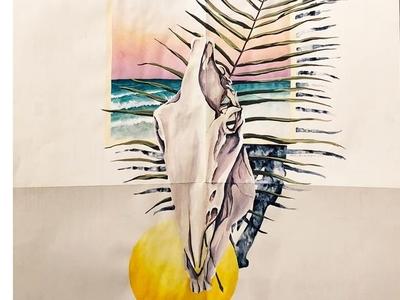 Indigo Show @ Recspec landscape paper found surface leaf palm sun ocean skull painting gouache