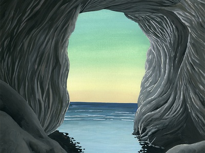 The Cave We Swam Into illustration rocks ocean landscape gallery painting gouache