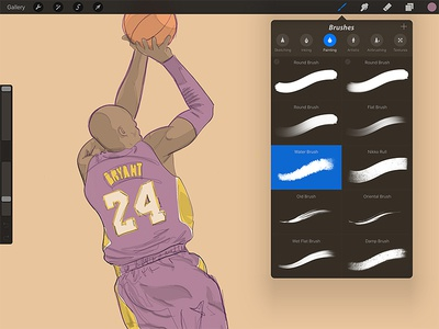 Kobe Fades into History watercolor digital drawing sketch illustration apple pencil procreate ipad pro ipad kobe bryant
