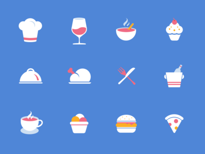 Restaurant Icons cup wine soup cake chicken dinnerware coffee icecream hambuger pizza