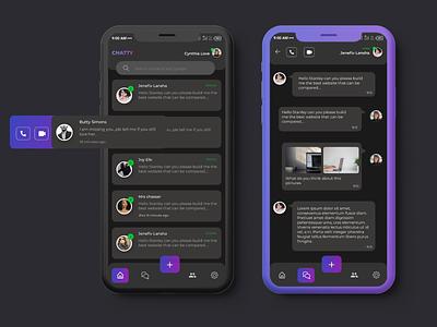 Mobile Chat App -Dark Mode mobile app design ui