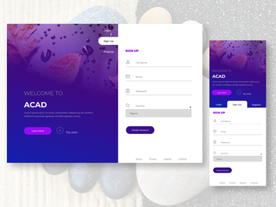 Sign Up Screens design ui