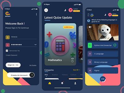 Quizzy - Mobile Quiz app (Dark Mode) mobile ui mobile app design ui