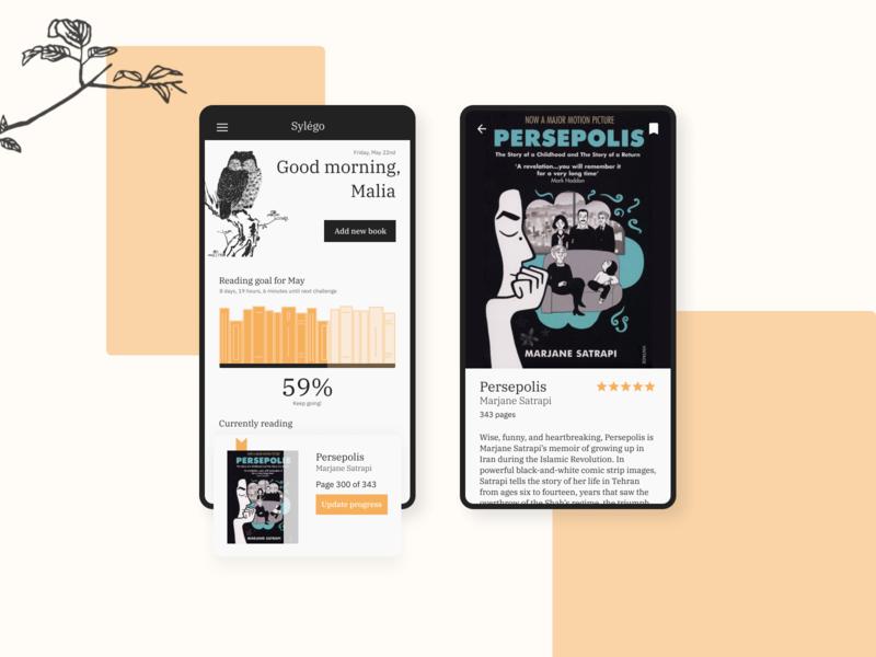Sylégo Reading Tracker minimal reading mobile app design ux ui