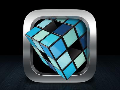 The Cube ios icon app cube box ui rubber square blue chrome shiny clean