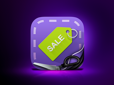 Voucher iOS Icon pages scissors keyring green purple icon ios tag voucher