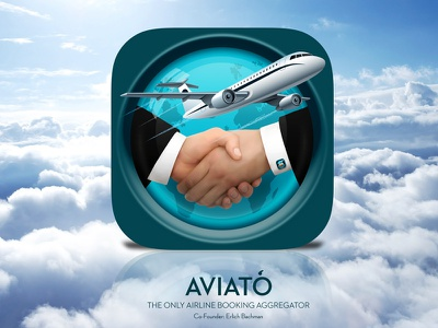 Aviato world globe hands plane silicon valley aviator icon app ios