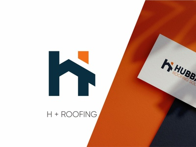 HUBBARD logo concept orange roofing blue illustration vector logo design learning simple logo design branding app