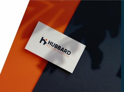 HUBBARD logo mockup presentation orange modern illustration logo design learning simple design logo branding app