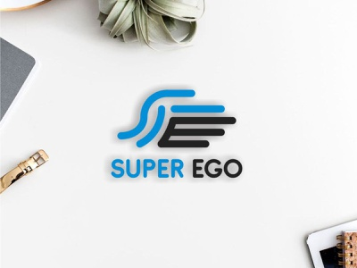 SUPER EGO logo concept blue logomark letter e letter s ego super vector bakery modern illustration logo design learning simple design branding app