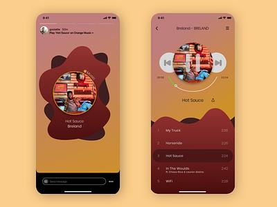 Music Player & Insta Share music player ui music player music app app typography ux ui design