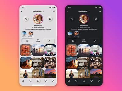 Instagram Profile Redesign neumorphism neumorphic design social media ux ui design app profile page instagram