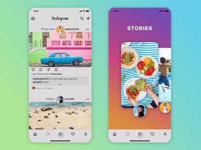 Instagram Home Page, Stories Page redesign visual design interface ui design ux design feed photography photos social media redesign instagram ux ui app design