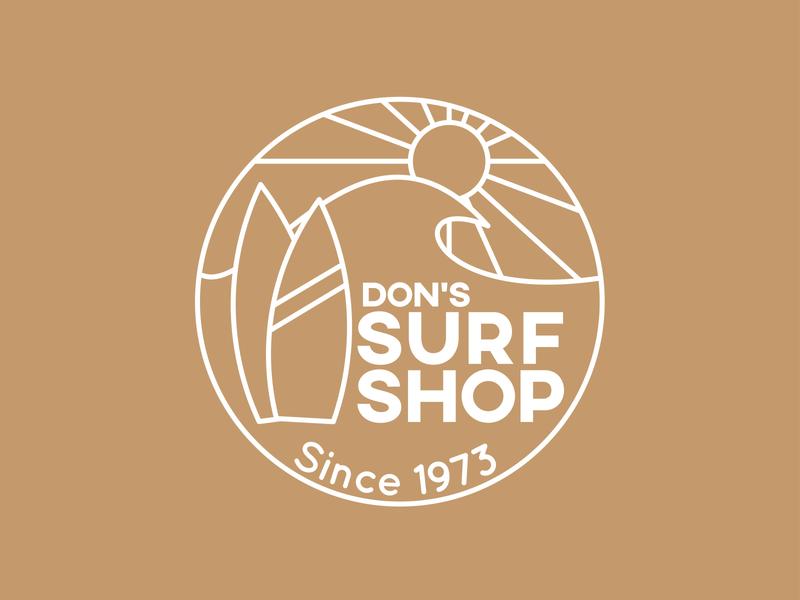Surf Shop Logo illustrator adobe illustrator brand design badge logo badge line icon linework line art line animation ui minimal vector logo illustration icon branding typography design