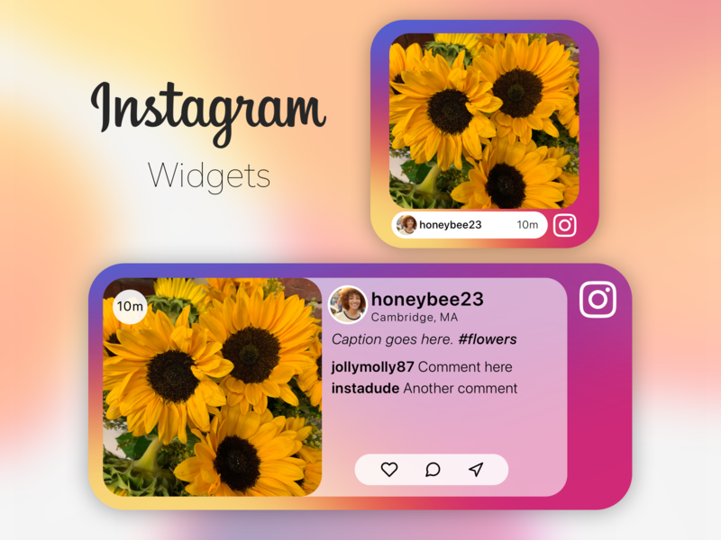 Insta Widgets sketch apple ios14 iphone ios widgets widget instagram vector social media logo icon branding typography app ux ui design