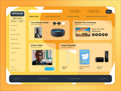Amazon Redesign uxui ui design ux design frosted glass redesign amazon website typography vector web branding ux ui design