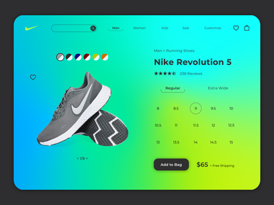 Nike Webpage color uxui uxdesign ui design ux design gradient freeform gradient illustrator logo website minimal web vector typography ux ui design