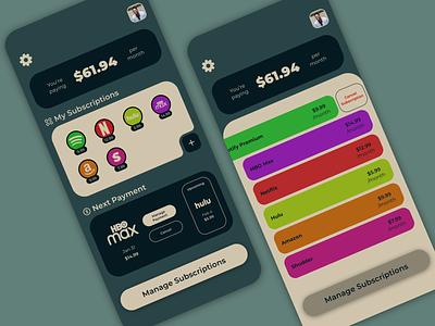 Subscription Management app sketch ios app ios uxui vector minimal ui design ux design app typography ux ui design