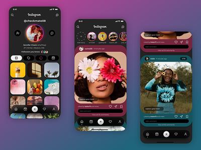 Instagram Redesign Concept (Take 2) app design uxuidesign glass effect glassmorphism profile gradient sketch minimal ux design ui design social media app vector ux ui design redesign instagram