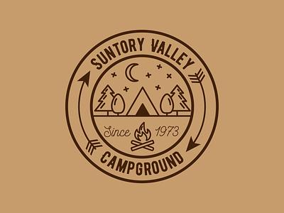 Campground Line Badge adobe illustrator illustrator monoline badge line badge line icon logo illustration branding vector typography design