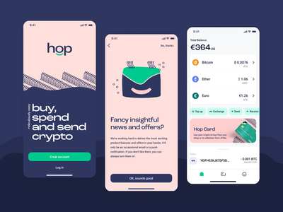 Fintech app with a character! ux design ux product design pastel logo design illustrations crypto app design fintech app fintech mobile design startup uxui logo design mobile app user experience uiux ui design branding