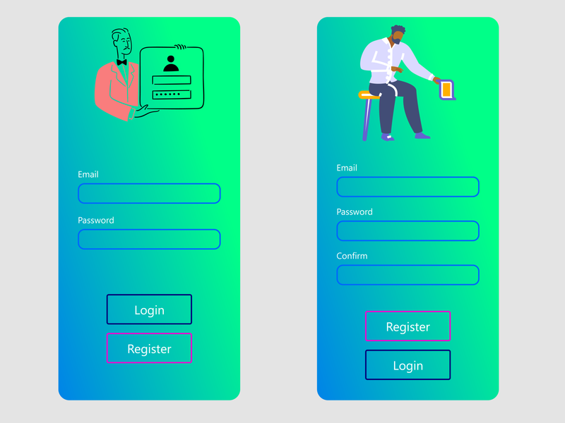 Login and Register page adobexd app designer design ux  ui ux design uxdesign uxui ux uiux uidesign ui register page register form register login design login screen login form login page login