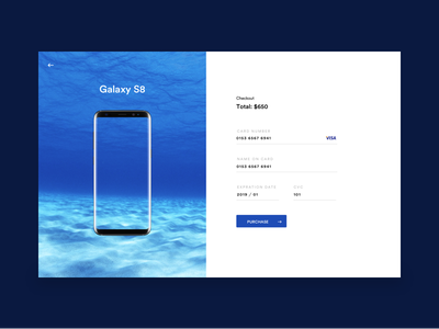 Checkout blue galaxy s8 payment webdesign checkout