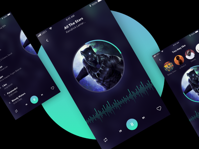 Music Player black recommended dark gradient blue ux ui music player uisml