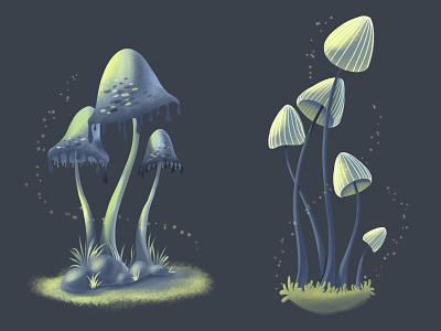 Mushrooms mushroom botanical illustration botanical digital illustration digitalart illustration