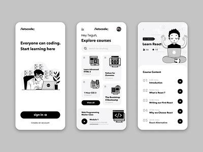 Coding Course App learn coding course illustration web visual interface inspiration idea design mobile app ux design ux uiux ui design ui