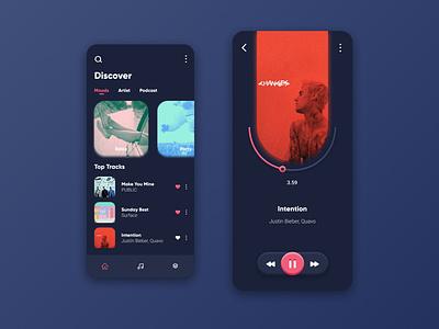 Music App (Dark Mode) dark mode exploration music app music web visual interface inspiration idea design mobile app ux ui