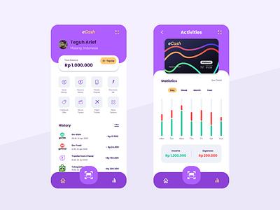 e-Cash - manage your money cash digital finance money visual idea interface inspiration design web mobile ux app ui
