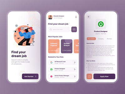 Job Finder App Exploration job listing job application finder job idea inspiration design mobile app ux ui