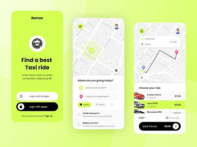 Bemoo - Taxi Booking Mobile App car booking taxi booking driver trip car booking taxi branding logo illustration interface app idea inspiration design ux ui
