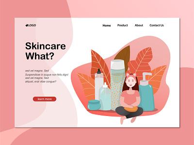 skincare routin flat landing page design art illustration