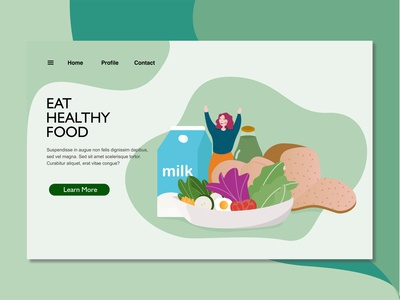 healthy food landing page illustration