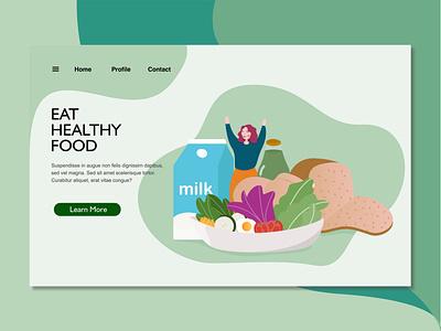 healthy food landing page illustration ui flat landingpage design illustration